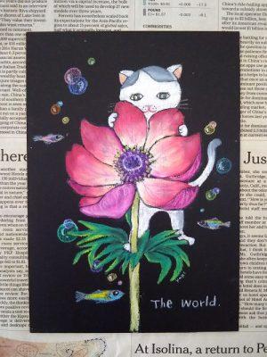 猫 チョーク アート プレゼント
